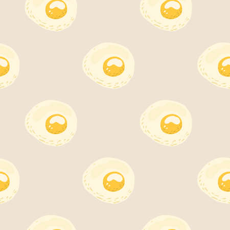 Food ornament seamless pattern with omelette shapes. Light pastel background. Egg meal print. 向量圖像