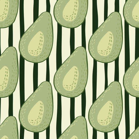 Light green avocado silhouettes seamless pattern. Black and white lines stripped monochrome background. Perfect for wallpaper, textile, wrapping paper, fabric print. Vector illustration.