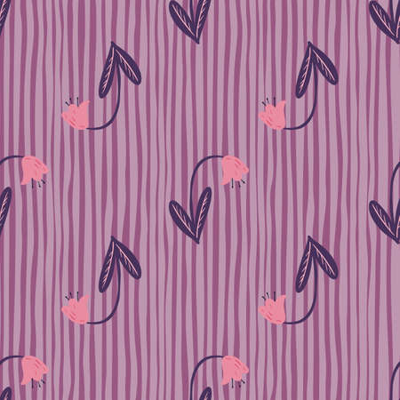 Pink buds campanula elements seamless stylized pattern. Floral nature artwork on purple striped background. Great for fabric design, textile print, wrapping, cover. Vector illustration.