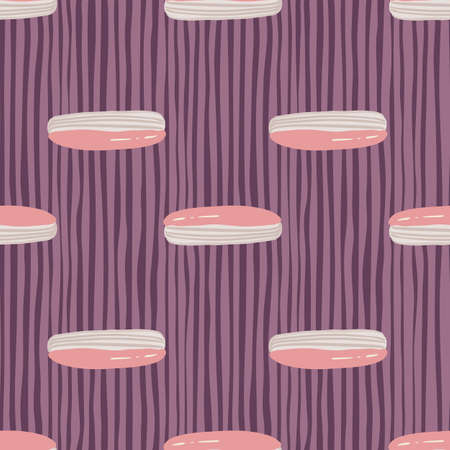 Pastel palette seamless pattern with stylized sweet eclair ornament. Pink and gray colored sugar baking print on purple striped background. Vector illustration.