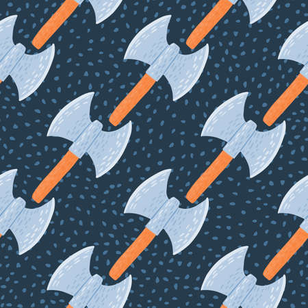 Seamless doodle pattern with norway viking ax print. Ancients old armor silhouettes in blue and orange colors on navy blue dotted background. Vector illustration.
