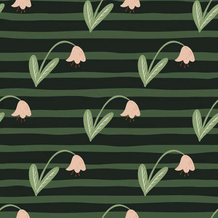 Pink campanula flowers seamless doodle pattern. Scandinavian bluebell elements on green striped background. Great for fabric design, textile print, wrapping, cover. Vector illustration.