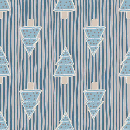 Blue new year cookie seamless hand drawn pattern. Fir tree tasty shapes on navy blue and pink stripped background. Perfect for wallpaper, textile, wrapping paper, fabric print. Vector illustration.