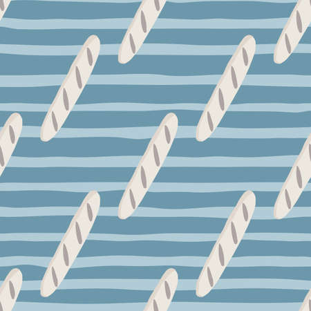 Diagonal loaf doodle shapes seamless pattern. Light bread food print with blue striped background. Food backdrop. Perfect for fabric design, textile print, wrapping, cover. Vector illustration.