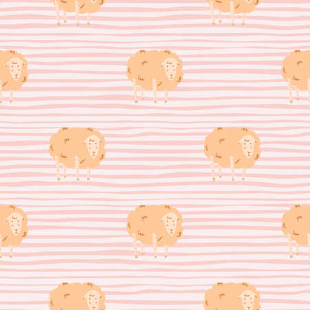 Pastel palette seamless pattern with doodle sheep silhouettes. Light orange fluffy animal ornament on stripped background. Great for fabric design, textile print, wrapping, cover. Vector illustration.