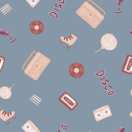 Random seamless pattern with doodle ball, microphone, rollers, cassette, tape recorder, vinyl, records silhouettes. Pale blue background. Maroon elements. Designed for fabric, textile, wrapping cover