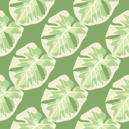 Tropical hawaii monstera leaves print seamless pattern. Light pastel foliage ornament on green background. Perfect for fabric design, textile print, wrapping, cover. Vector illustration.