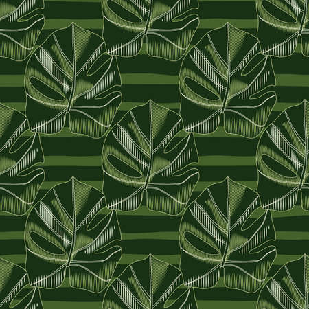 Creative seamless hand drawn monstera pattern. Palm foliage ornament with striped background. Artwork in green tones. Backdrop for fabric design, textile print, wrapping, cover. Vector illustration 矢量图像