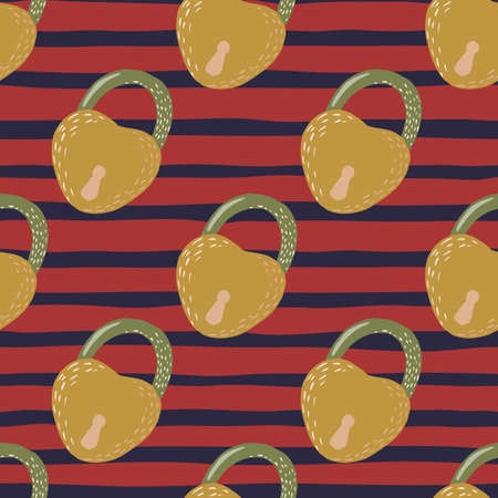 Pale orange lock silhouettes seamless doodle pattern. Red and navy blue colored stripped background. Victorian style. Backdrop for wallpaper, textile, wrapping paper, fabric print. Vector illustration Ilustração