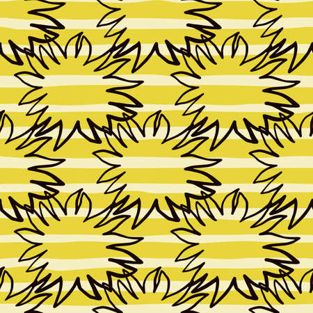 Creative seamless pattern with black contoured star silhouettes. Sunny print with striped yellow and white background. Perfect for fabric design, textile print, wrapping, cover. Vector illustration.