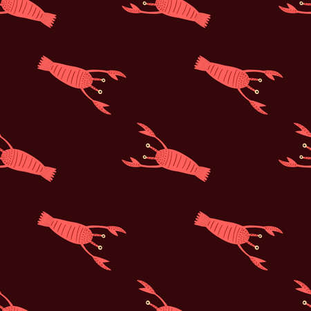 Contrast red lobster seamless pattern. Doodle aquatic animal print with dark brown background. Simple backdrop. Designed for fabric design, textile print, wrapping, cover. Vector illustration.