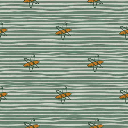 Simple seamless education pattern with atoms shapes. Green striped background. Labaratory chemical artwok. Decorative backdrop for fabric design, textile print, wrapping, cover. Vector illustration.