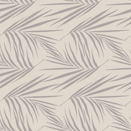 Pale seamless minimalistic pattern with purpe tones fern leaf silhouettes. Botanic ornament. Jungle creative print. Great for fabric design, textile print, wrapping, cover. Vector illustration.