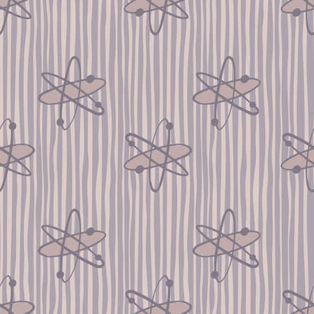 Purple pastel palette seamless pattern with molecules silhouettes. Striped background. Chemistry cartoon artwork. Backdrop for fabric design, textile print, wrapping, cover. Vector illustration.