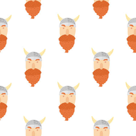 Isolated doodle Viking face ornament seamless pattern. White background. Norway mans with an orange beard. Designed for fabric design, textile print, wrapping, cover illustration. Vettoriali