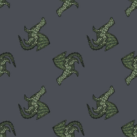 Dark seamless pattern with doodle dragons green contoured silhouettes. Gray background. Decorative backdrop for fabric design, textile print, wrapping, cover.