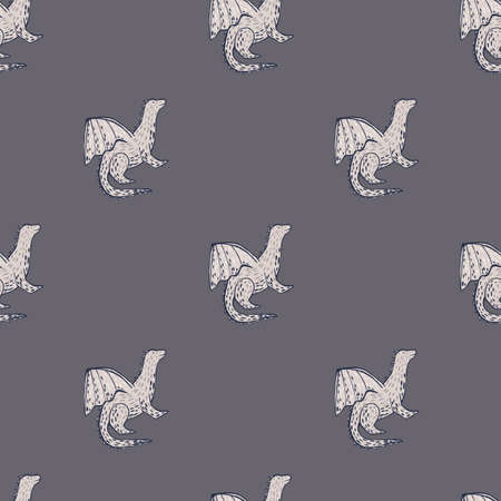 Dragon silhouettes seamless minimalistic pattern. Gray palette magical artwork. Simple design. Decorative backdrop for fabric design, textile print, wrapping, cover. Vector illustration. Vettoriali