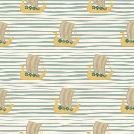 Beige and yellow colored shap snailing transport print. Antique artwork with blue and white striped background. Designed for fabric design, textile print, wrapping, cover. Vector illustration. Vettoriali