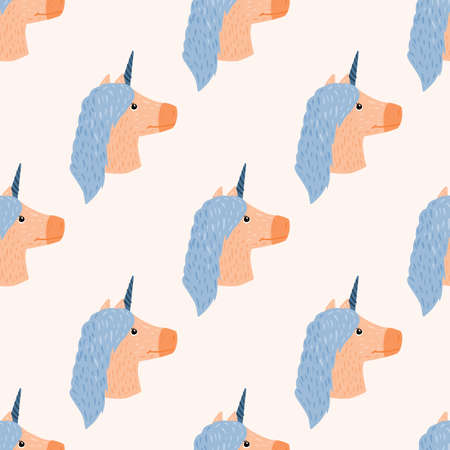 Isolated seamless pattern with magical unicorn silhouettes. Blue and beige colored horse silhouettes on white background. Designed for fabric design, textile, wrapping, cover. Vector illustration.