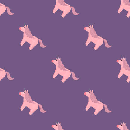 Simple animal seamless pattern with unicorn elements. Pink pony silhouettes on purple pastel background. Designed for fabric design, textile print, wrapping, cover. Vector illustration. Vettoriali