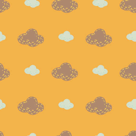 Light blue and beige clouds silhouettes seamless doodle pattern. Weather print with orange background. Decorative backdrop for fabric design, textile print, wrapping, cover. Vector illustration.