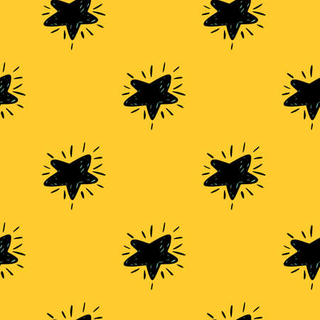 Black cartoon simple stars seamless pattern. Doodle decorative print on yellow bright background. Perfect for wallpaper, textile, wrapping paper, fabric print. Vector illustration. Vettoriali