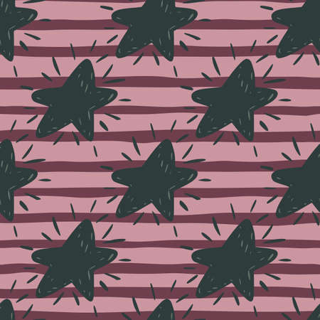 Dark hand drawn star silhouttes seamless pattern. Striped background with lilac and violet lines. Perfect for wallpaper, textile, wrapping paper, fabric print. Vector illustration.