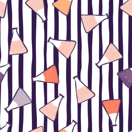 Random seamless pattern with doodle flask silhouettes and colorful liquids. Striped background with navy blue and white lines. For wallpaper, textile, wrapping paper, fabric print. Vector illustration