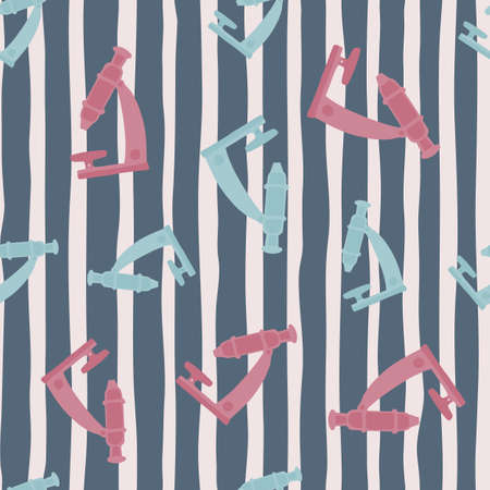 Random microscope shapes seamless hand drawn pattern. Science lab pink and blue equipment on gray striped background. Backdrop for wallpaper, textile, wrapping paper, fabric print. Vector illustration Vettoriali