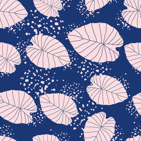 Random foliage leaves seamless pattern. Pink contoured leaves on navy blue background with splashes. Designed for wallpaper, textile, wrapping paper, fabric print. Vector illustration.