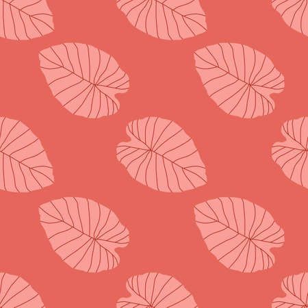 Seamless flora pattern with abstract leaf shapes silhouettes. Pink palette artwork. Simple botanic backdrop. Designed for wallpaper, textile, wrapping paper, fabric print. Vector illustration.