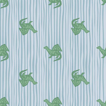 Seamless fairytail pattern with green dragons elements. White and blue striped background. Decorative backdrop for fabric design, textile print, wrapping, cover. Vector illustration. Vettoriali