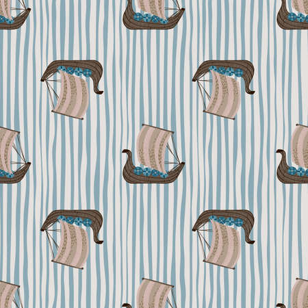 Seamless pattern with doodle beige and brown colored snailing ship elements. Blue and white striped background. Designed for fabric design, textile print, wrapping, cover. Vector illustration.