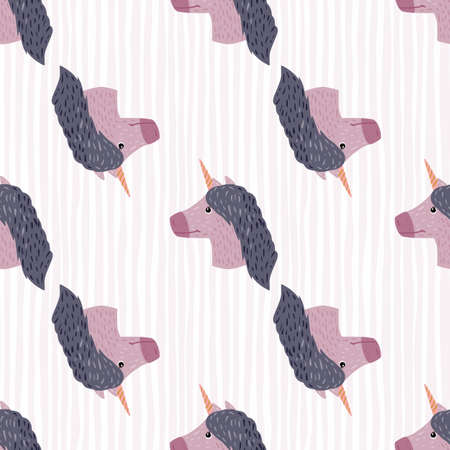 Purple unicorn faces ornament seamless doodle pattern. Light gray background with strips. Hand drawn magical backdrop. Designed for fabric design, textile print, wrapping, cover. Vector illustration.