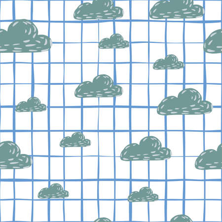 Random seamless doodle pattern with navy blue colored clouds shapes. White checkered background. Perfect for fabric design, textile print, wrapping, cover. Vector illustration. Vettoriali