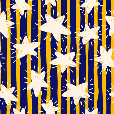 White random star silhouettes seamless doodle pattern. Striped background with navy blue and yellow lines. Perfect for wallpaper, textile, wrapping paper, fabric print. Vector illustration. Vettoriali