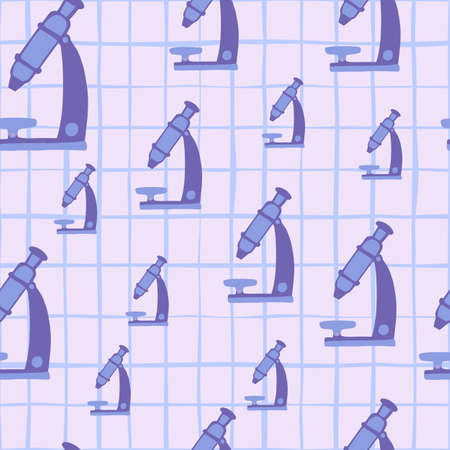 Random seamless doodle pattern with microscopes. Purple technology design with checkered background. Decorative backdrop for wallpaper, textile, wrapping paper, fabric print. Vector illustration. Vettoriali