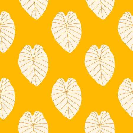 Bright seamless doodle pattern with white leaves contoured silhouettes. Yellow background. Designed for wallpaper, textile, wrapping paper, fabric print. Vector illustration.