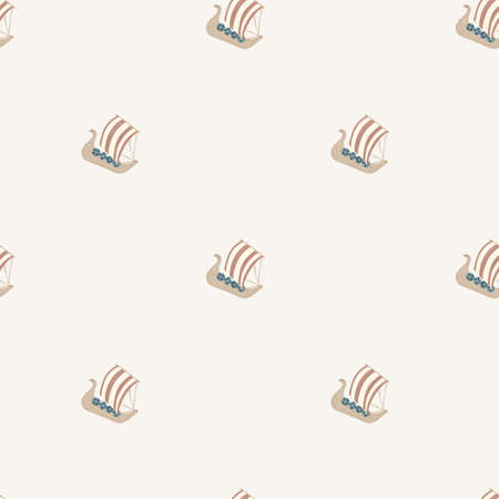 Minimalistic seamless pattern with ship boat ornament. Sea transport print in beige light color palette. Designed for fabric design, textile print, wrapping, cover. Vector illustration.