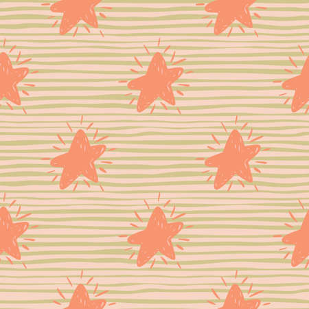 Pastel palette star doodle silhouettes seamless pattern. Pink geometric forms on striped background. Perfect for wallpaper, textile, wrapping paper, fabric print. Vector illustration. Vettoriali