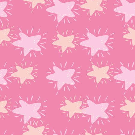 Seamless random pattern with hand drawn star silhouettes. Pink palette cosmic artwork. Perfect for wallpaper, textile, wrapping paper, fabric print. Vector illustration.