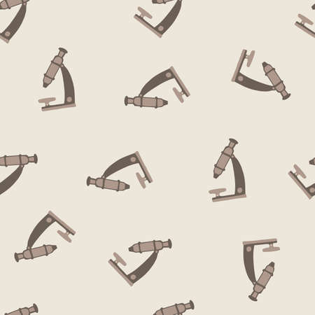 Random seamless minimalistic pattern with simple microscope silhouettes. Gray and beige palette artwork. Backdrop for wallpaper, textile, wrapping paper, fabric print. Vector illustration. Vettoriali