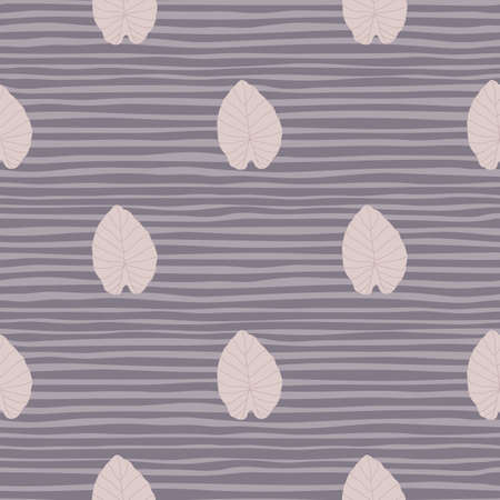 Pastel pale leaves seamless simple pattern. Stylized foliage outline print on striped background. Designed for wallpaper, textile, wrapping paper, fabric print. Vector illustration. Vettoriali