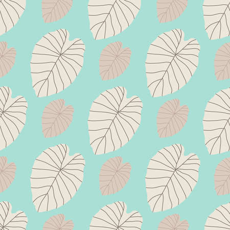 Pastel tones seamless botanic pattern with beige colored leaf silhouettes. Blue background. Designed for wallpaper, textile, wrapping paper, fabric print. Vector illustration.