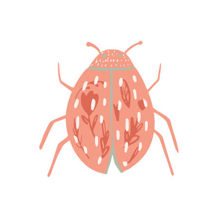 Pink beetle isolated on white background. Abstract insects short with flowers tracery in doodle vector illustration. Vettoriali
