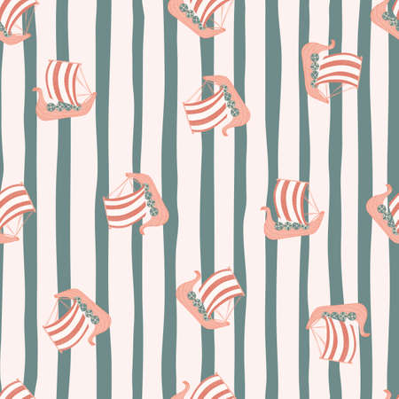 Random childish seamless pattern with cartoon snailing ship silhouettes. Pink boats on striped pastel background. Designed for fabric design, textile print, wrapping, cover. Vector illustration.