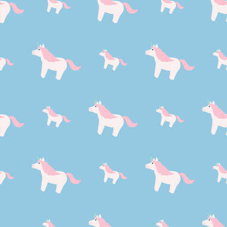 Baby sweet seamless doodle pattern with unicorn ornament. White and pink colored cute pony elements on blue background. Perfect for fabric design, textile print, wrapping, cover. Vector illustration.