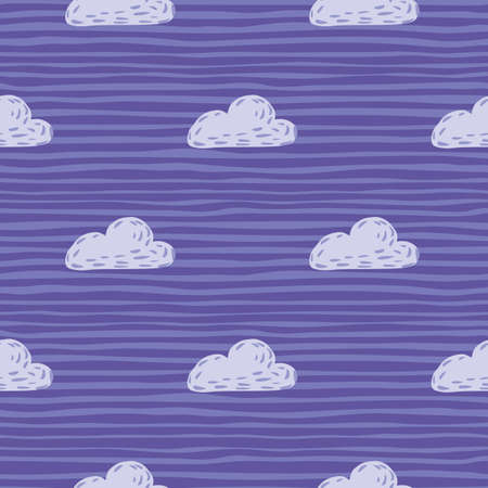 Doodle seamless pattern with light tones clouds silhouettes. Weather print with blue striped background. Perfect for fabric design, textile print, wrapping, cover. Vector illustration. Vettoriali