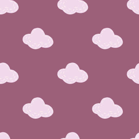 Gray simple clouds elements seamless pattern. Purple background. Sky childish minimalistic artwork. Decorative backdrop for fabric design, textile print, wrapping, cover. Vector illustration.