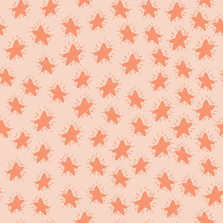 Random seamless pattern with little stars pink silhouettes. Pastel background. Cartoon abstract print. Perfect for wallpaper, textile, wrapping paper, fabric print. Vector illustration. Vettoriali